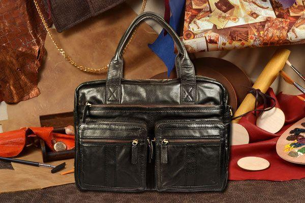 Стильная мужская кожаная сумка, модные мужские сумки из